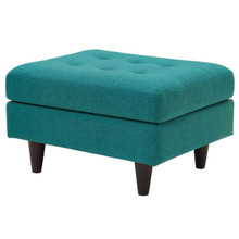 Empress Upholstered Fabric Ottoman, Fabric, Aqua Blue 13293