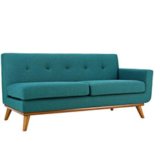 Engage Right-Arm Upholstered Fabric Loveseat, Fabric, Aqua Blue 13313