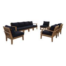 Marina 8 Piece Outdoor Patio Teak Set, Wood, Navy Blue Natural 13325