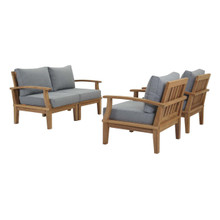 Marina 4 Piece Outdoor Patio Teak Set, Wood, Grey Gray Natural 13326