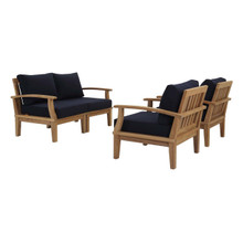 Marina 4 Piece Outdoor Patio Teak Set, Wood, Navy Blue Natural 13327