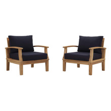 Marina 2 Piece Outdoor Patio Teak Set, Wood, Navy Blue Natural 13329