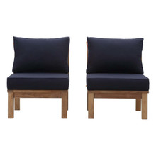 Marina 2 Piece Outdoor Patio Teak Set, Wood, Navy Blue Natural 13333