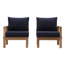 Marina 2 Piece Outdoor Patio Teak Set, Wood, Navy Blue Natural 13335
