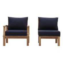 Marina 2 Piece Outdoor Patio Teak Set, Wood, Navy Blue Natural 13337