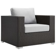 Sojourn Outdoor Patio Sunbrella® Armchair, Sunbrella Rattan Wicker, Grey Gray 13338
