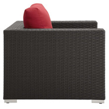 Sojourn Outdoor Patio Sunbrella® Armchair, Sunbrella Rattan Wicker, Red 13339
