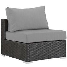 Sojourn Outdoor Patio Fabric Sunbrella® Armless, Sunbrella Rattan Wicker, Grey Gray 13342