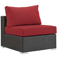 Sojourn Outdoor Patio Fabric Sunbrella® Armless, Sunbrella Rattan Wicker, Red 13343