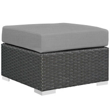 Sojourn Outdoor Patio Sunbrella® Ottoman, Sunbrella Rattan Wicker, Grey Gray 13344