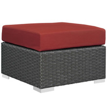 Sojourn Outdoor Patio Sunbrella® Ottoman, Sunbrella Rattan Wicker, Red 13345