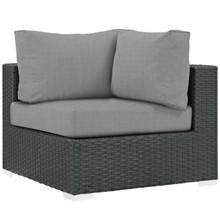 Sojourn Outdoor Patio Sunbrella® Corner, Sunbrella Rattan Wicker, Grey Gray 13346