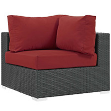 Sojourn Outdoor Patio Sunbrella® Corner, Sunbrella Rattan Wicker, Red 13347