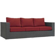 Sojourn Outdoor Patio Sunbrella® Sofa, Sunbrella Rattan Wicker, Red 13353