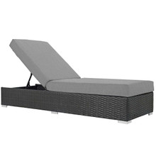 Sojourn Outdoor Patio Sunbrella® Chaise Lounge, Sunbrella Rattan Wicker, Grey Gray 13354