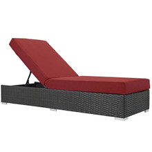 Sojourn Outdoor Patio Sunbrella® Chaise Lounge, Sunbrella Rattan Wicker, Red 13355