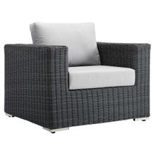 Summon Outdoor Patio Fabric Sunbrella® Armchair, Sunbrella Rattan Wicker, Grey Gray 13356