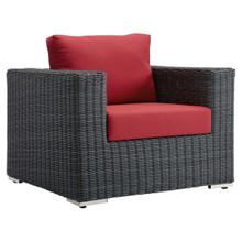 Summon Outdoor Patio Fabric Sunbrella® Armchair, Sunbrella Rattan Wicker, Red 13357