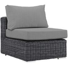 Summon Outdoor Patio Sunbrella® Armless, Sunbrella Rattan Wicker, Grey Gray 13360