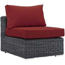 Summon Outdoor Patio Sunbrella® Armless, Sunbrella Rattan Wicker, Red 13361