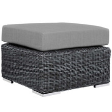 Summon Outdoor Patio Sunbrella® Ottoman, Sunbrella Rattan Wicker, Grey Gray 13362