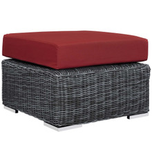 Summon Outdoor Patio Sunbrella® Ottoman, Sunbrella Rattan Wicker, Red 13363