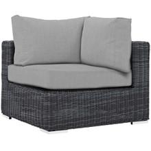Summon Outdoor Patio Sunbrella® Corner, Sunbrella Rattan Wicker, Grey Gray 13364