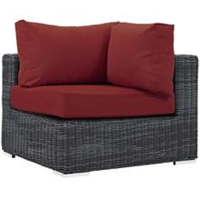 Summon Outdoor Patio Sunbrella® Corner, Sunbrella Rattan Wicker, Red 13365