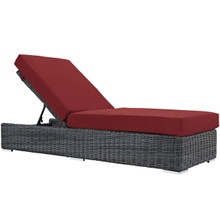 Summon Outdoor Patio Sunbrella® Chaise Lounge, Sunbrella Rattan Wicker, Red 13375