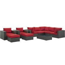 Sojourn 10 Piece Outdoor Patio Sunbrella® Sectional Set, Sunbrella Rattan Wicker, Red 13391