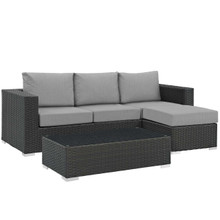 Sojourn 3 Piece Outdoor Patio Sunbrella® Sectional Set, Sunbrella Rattan Wicker, Grey Gray 13392