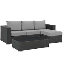 Sojourn 3 Piece Outdoor Patio Sunbrella® Sectional Set, Sunbrella Rattan Wicker, Grey Gray 13392