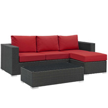 Sojourn 3 Piece Outdoor Patio Sunbrella® Sectional Set, Sunbrella Rattan Wicker, Red 13393