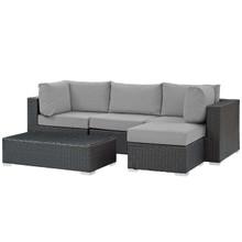Sojourn 5 Piece Outdoor Patio Sunbrella® Sectional Set, Sunbrella Rattan Wicker, Grey Gray 13394
