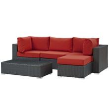 Sojourn 5 Piece Outdoor Patio Sunbrella® Sectional Set, Sunbrella Rattan Wicker, Red 13395