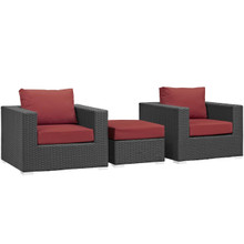Sojourn 3 Piece Outdoor Patio Sunbrella® Sectional Set, Sunbrella Rattan Wicker, Red 13397
