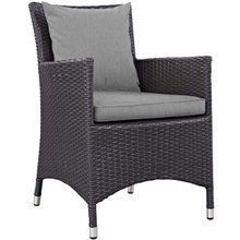 Convene Dining Outdoor Patio Armchair, Rattan Wicker, Grey Gray 13424