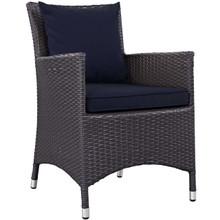 Convene Dining Outdoor Patio Armchair, Rattan Wicker, Navy Blue 13425