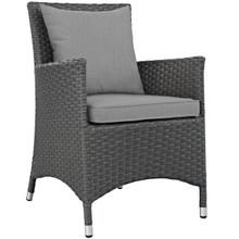 Sojourn Dining Outdoor Patio Sunbrella® Armchair, Sunbrella Rattan Wicker, Grey Gray 13426
