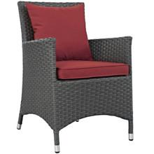 Sojourn Dining Outdoor Patio Sunbrella® Armchair, Sunbrella Rattan Wicker, Red 13427
