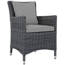 Summon Dining Outdoor Patio Sunbrella® Armchair, Sunbrella Rattan Wicker, Grey Gray 13428