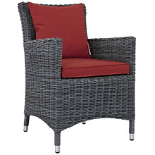 Summon Dining Outdoor Patio Sunbrella® Armchair, Sunbrella Rattan Wicker, Red 13429
