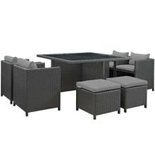 Sojourn 9 Piece Outdoor Patio Sunbrella® Dining Set, Sunbrella Rattan Wicker, Grey Gray 13430