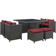 Sojourn 9 Piece Outdoor Patio Sunbrella® Dining Set, Sunbrella Rattan Wicker, Red 13431