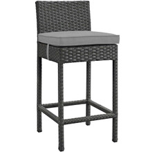 Sojourn Outdoor Patio Sunbrella® Bar Stool, Sunbrella Rattan Wicker, Grey Gray 13434