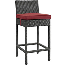 Sojourn Outdoor Patio Sunbrella® Bar Stool, Sunbrella Rattan Wicker, Red 13435