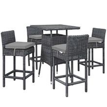 Summon 5 Piece Outdoor Patio Sunbrella® Pub Set, Sunbrella Rattan Wicker, Grey Gray 13440