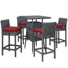 Summon 5 Piece Outdoor Patio Sunbrella® Pub Set, Sunbrella Rattan Wicker, Red 13441