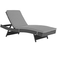 Sojourn Outdoor Patio Sunbrella® Chaise, Sunbrella Rattan Wicker, Grey Gray 13448