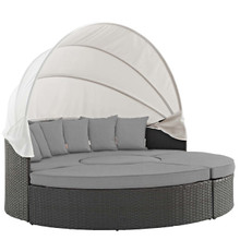 Sojourn Outdoor Patio Sunbrella® Daybed, Sunbrella Rattan Wicker, Grey Gray 13450